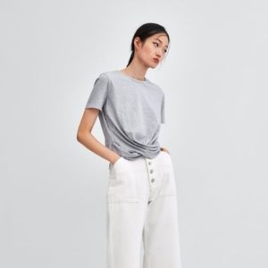 ZARA T-SHIRT WITH KNOTTED FRONT